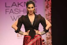Sophie Choudry showstopper for debut designer at LFW