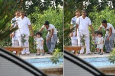 See Pictures: Taimur Ali Khan enjoys a little walk by the poolside!