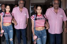 Janhvi Kapoor SPOTTED on a Movie Date with Dad Boney & sis Anshula