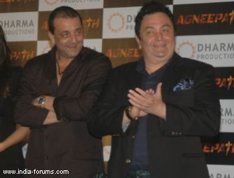 sanjay dutt and rishi kapoor at Success party of movie agneepath