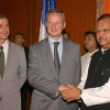 Food Processing Industries Minister Subodh Kant Sahai with Bruno Le Maire, Minister for Food, Agriculture and Fisheries, France and France Ambassador to India Jerome Bunnafont at a delegation talks in New Delhi on Thursday