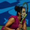 Sania Mirza during the women's singles final match against Anastasia Rodionova of Australia at the 19 th Commonwealth Games on Saturday