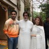 Big B with Abhishek and Aishwarya Celebrates His 68th Birthday with Media