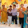 Khichdi (the Movie) cast & crew - destroy pirated CDs of the movie - as a symbolic gesture against anti-piracy, before the launch of its home Video by Moser Baer Entertainment