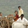 Irfan and Lara sitting on a bullock cart