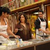 Katrina and Farah trying their hand in cooking along with Akshay Kumar at Master Chef India set