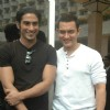 Aamir Khan and Prateik Babbar at the Unveiling of Dhobi Ghat's First Look, Andheri. .
