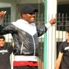 West Indies cricketer Brian Lara gives tips to young cricketers at Ferozshah Kotla  stadium in New Delhi on Tuesday. .