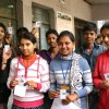 Young voters pledge to uphold the democratic traditions at a election centres in New Delhi
