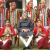 Tableaux artists who participated in Republic Day Parade with Vice President M. Hamid Ansari at his residence, in New Delhi