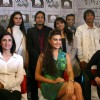 Jacqueline Fernandes with designer Rina Dhaka and Poonam Bhagat with the finalist for