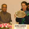 "Sonia Gandhi and Pranab at the launch of ""Swabhiman"", the Financial Inclusion Campaign in New Delhi"