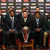 Captains of all the 14 cricket world cup teams with the ICC Cricket World Cup trophy in Dhaka, Bangladesh on Feb 17, 2011. The 14 national captains , Front Row Left to Right, Ashish Bagai (Canada), Peter Borren (Netherlands), Kumar Sangakkara ...