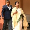 Union Minister for Railways, Mamata Banerjee departs from Rail Bhavan to Parliament House, to present the Rail Budget 2011-12, in New Delhi on Friday 25 Feb 2011. .