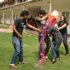 "Students playing ""Holi"" at IGNOU Campus in New Delhi"