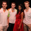 Nico Hulkenberg, Sarah Jane Dias, Adrian Sutil & Paul di Resta at Force India Press Conference