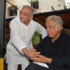 Shashi Kapoor and Gulzar at Rekha Bharadwaj's play premiere show at Prithvi. .