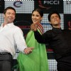 Hugh Jackman, Vidya Balan and Shah Rukh Khan at FICCI Frames Excellence Honours 2011