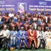 IGNOU Vice-Chancellor V N Rajasekharan Pillai and senior faculty members with the Gold Medalist, after the Indira Gandhi Open University's convocation in New Delhi on Saturday.  .