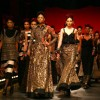 Models showcasing designer Sabyasachi's creations at the Wills Lifestyle India Fashion Week's Grand Finale ,in New Delhi on Sunday. .