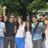 Hrithik, Farhan, Katrina, Kalki, Abhay flag off their road tour from Mumbai to Delhi to promote their film Zindagi Na Milegi Dobara at Mehboob Studios in Bandra, Mumbai