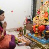 Sambhavna Seth paying devote to Lord Ganesha during the occasion of Ganesh Chaturthi at their home