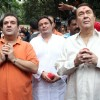 Rishi, Randhir and Rajiv Kapoor at RK Studio Ganapati Immersion
