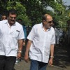 Tinu Anand and Sharat Saxena at Producer Surinder Kapoor funeral at Vile Parle in Mumbai