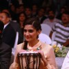 Sonam Kapoor playing the African drum at new range launch of Spice Mobiles in Mumbai