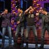 Akshay Kumar and John Abraham promote their film 'Desi Boyz' on the sets of Bigg Boss Season 5 with Salman Khan and Sanjay Dutt at ND Studios in Karjat