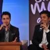 Karan Johar with Imran Khan at their film 'Ek Main Aur Ekk Tu' first look launch at Hotel Taj Lands