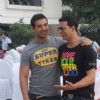 "Akshay Kumar and John Abraham promoting ""Desi Boyz"" at Sun N Sand"