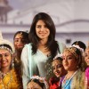 Priyanka Chopra with children during the Brahma Kumaris Conclude Megha Platinum Jubilee Celebrations