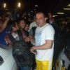 Sanjay Dutt and sumo wrestler Yamamotayama at airport as they enter