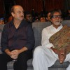 "Amitabh, Anupam listen to Kailash Kher during the release of his new album ""Kailasha Rangeele"""