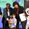 Sonu Niigam with son Nevaan Niigam at 18th LIONS GOLD AWARDS at Bhaidas Hall in Mumbai