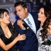 Akshay Kumar with Shazahn Padamsee and Jacqueline fernandez at the unveiling of cover page of latest issue of stardust magazine