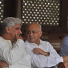 Javed Akhtar at Mona Kapoor's funeral at Pawan Hans