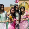 Keerti, Aarti, Pratyusha and Sargun at Rang de Colors Holi event
