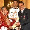President Pratibha Devisingh Patil, presenting the Padma Bhushan Award to Dharmendra Deol and Shabana Azmi at Rashtrapati Bhavan, in New Delhi