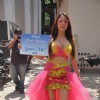 Pooja Misra turns a bird for PETA promotions at Mehboob in Mumbai