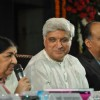 Lata Mangeshkar, Javed Akhtar and Ashutosh Gowarikar at Javed Akhtar's first book �Tarkash� launch