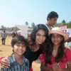 Sneha with fans, in Goa