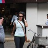 Bollywood actress Neha Dhupia was snapped while taking a walk in Mumbai