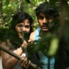 Nitin Reddy and Nisha Kothari looking feared