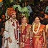 Hema Malini with Esha Deol and Bharat Takhtani at their wedding ceremony