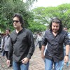 Bollywood actor Fardeen Khan with Director Sajid Khan at Dara Singh funeral. .