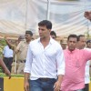 Rajesh Khanna's son-in-law and actor Akshay Kumar arrives to speak to the media