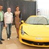 Keertan Adyanthaya, MD, National Geographic Network, Gautam Singhania Chairman of India's Super Car Club and bollywood actress Esha Gupta during a National Geographic Channel  Supercars launch at Blue Sea in Mumbai.