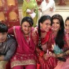 Gaurav, Nia and Krystle with cast